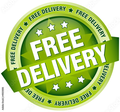 """Button Banner """"Free Delivery"""" Green"""