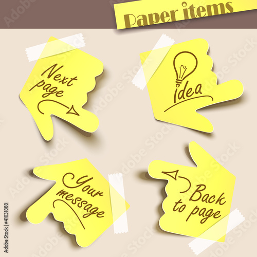 Vector illustration note paper. Message label.