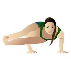 Young woman practicing yoga Astavakrasana isolated on white