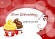 Karte zum Geburtstag mit Muffin, Cupcakes
