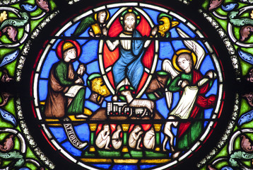 Paris - windowpane from Saint Denis - Jesus and evangelists