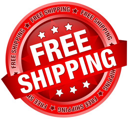 "Button Banner ""Free Shipping"" Red"