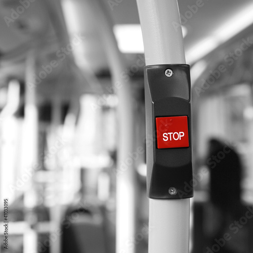 Fotobehang Rood, zwart, wit Bus Stop Button