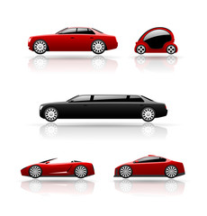 Set of car icons. Vector cars.