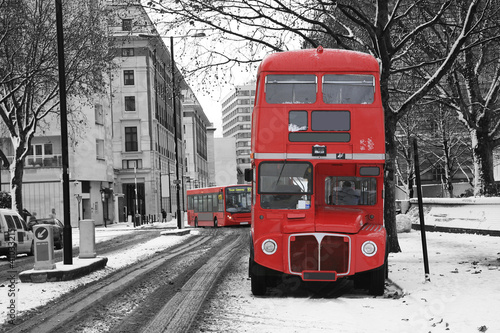 Fotobehang Rood, zwart, wit London Route Master Bus