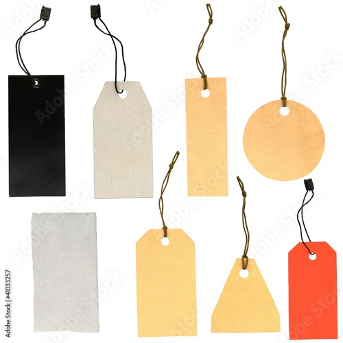 set of labels of various shapes on a white background