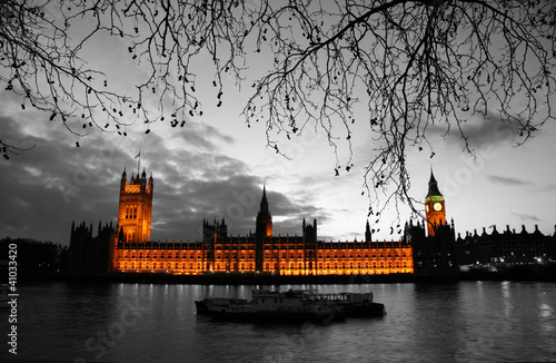 Poster Rood, zwart, wit Westminster at dusk
