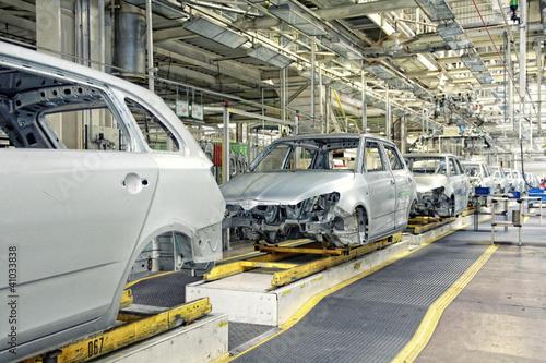 Leinwandbild Motiv cars in a row at car plant