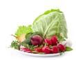 Setof fresh vegetables isolated on white background