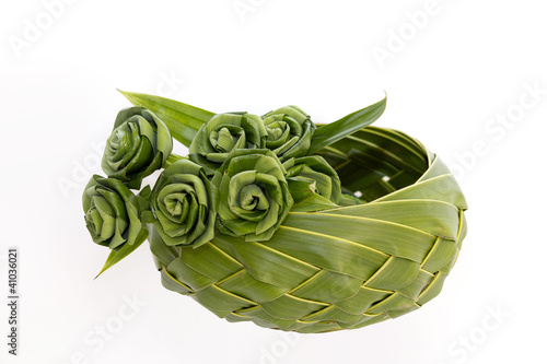 Roses made from Pandanus leaf and coconut leaf.