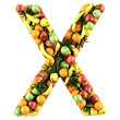 Letter - X made of fruits. Isolated on a white.