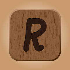 Hand drawn  wooden letter R.