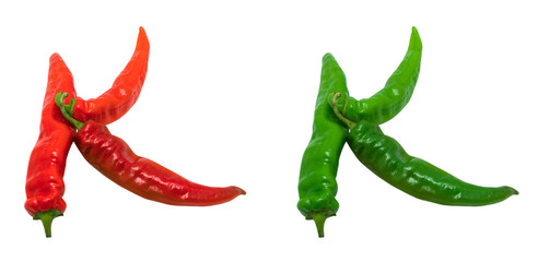 Letter K composed of green and red chili peppers