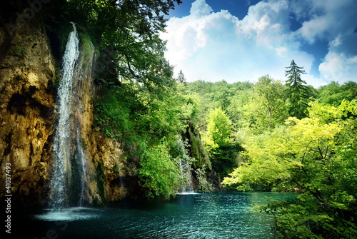 waterfall in deep forest - 41037493