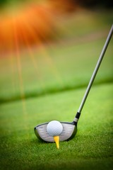 Macro shot of a golf club ready to drive the ball