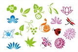 Fototapety colorful nature icons , Eco friendly ,India, Asia