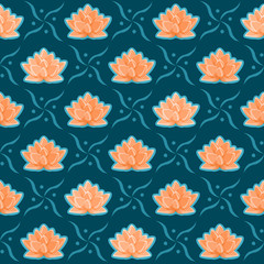 Lotus Flower Seamless Pattern