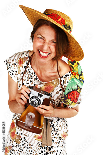 laughing woman with old analog camera