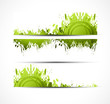 Vector colorful green grunge banners set