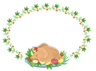 Oval frame with turkey ,vector.