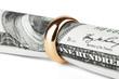 Dollar bill in a ring