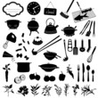 food and kitchen items, vector graphics