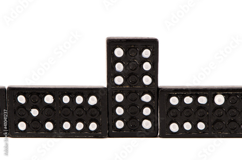 Sequence of black domino parts isolated on white