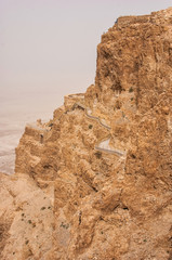 Masada mountain in the haze