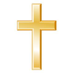 Christianity Symbol, gold cross, crucifix, Christian faith icon