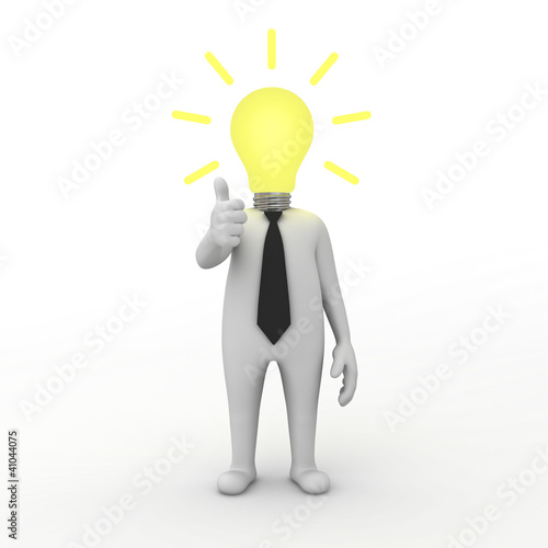 3d businessman with idea lightbulb