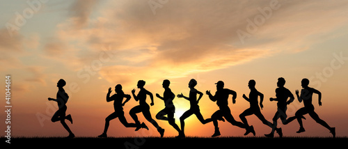 canvas print picture Marathon, black silhouettes of runners on the sunset