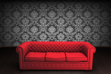 A red vintage chair on damask background