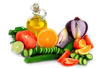 Ingredients, fruits, vegetables Dressings.