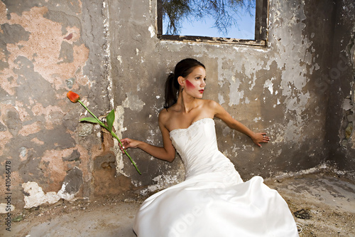 Bride in grunge setting