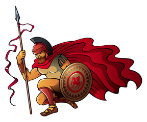 Greek warrior with spear and shield, vector