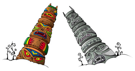 Ancient wooden and stone idols (totems), vector