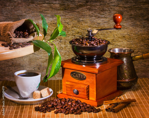 Fototapeta grinder and other accessories for the coffee