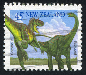 Carnosaur and Sauropod
