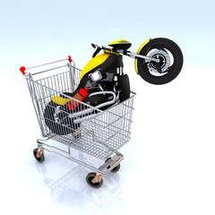 motorcycle inside the shopping cart