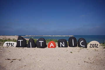 Tragedy of Titanic commemoration on the sand