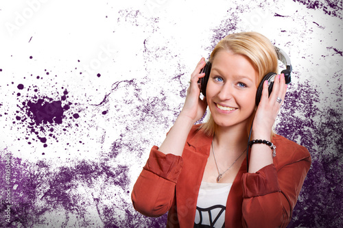 Young female with headphones