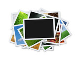 Fototapety Stack of instant photos with clipping path for the blank one