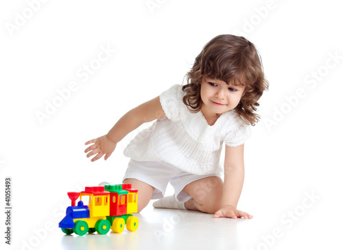 child playing  with colourful toy. Isolated on white background