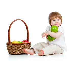 child with healthy food apples
