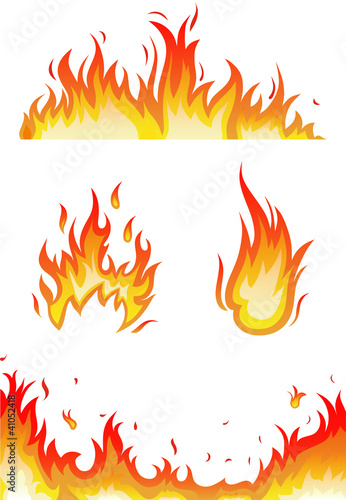 vector set: fire flames - collage