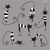 Funny striped cats, collection for your design
