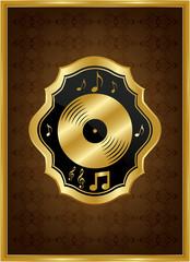 Altın çerçeveli motifli müzik plağı