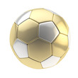 Gold and silver football ball isolated