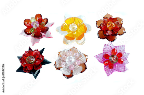 a craft beaded crystal of flower-shaped brooch