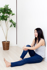attractive asian woman relaxing
